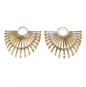 Brass Sunburst Hoops