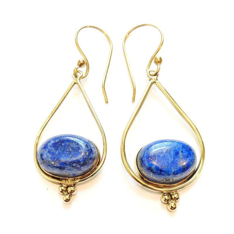 Brass Lapis Lazuli Teardrop Earrings