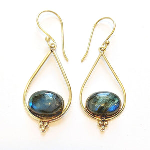 Brass Labradorite Teardrop Earrings