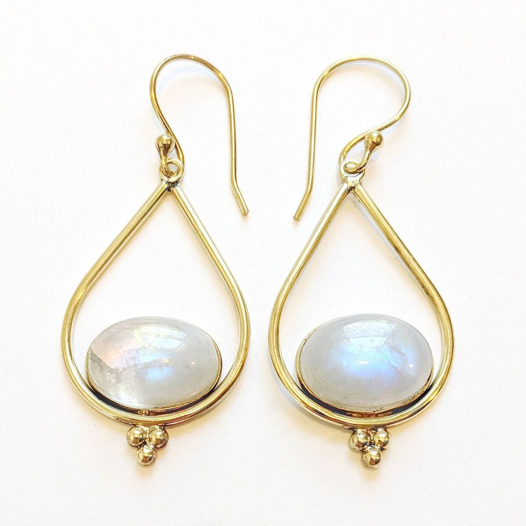 Brass Moonstone Teardrop Earrings