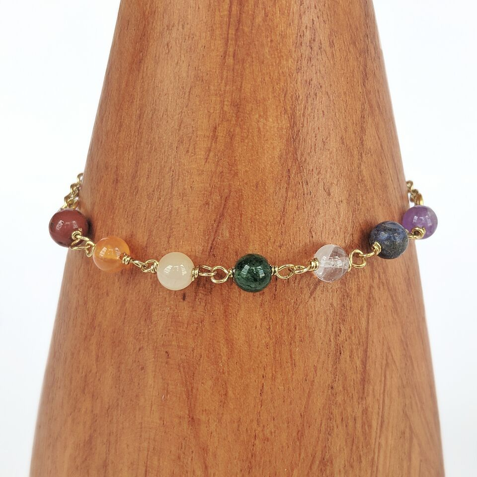 Colorful Brass Beaded Bracelet