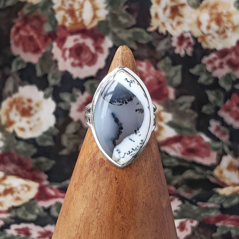 Sterling Silver Double Pointed Dendrite Agate Stone Ring