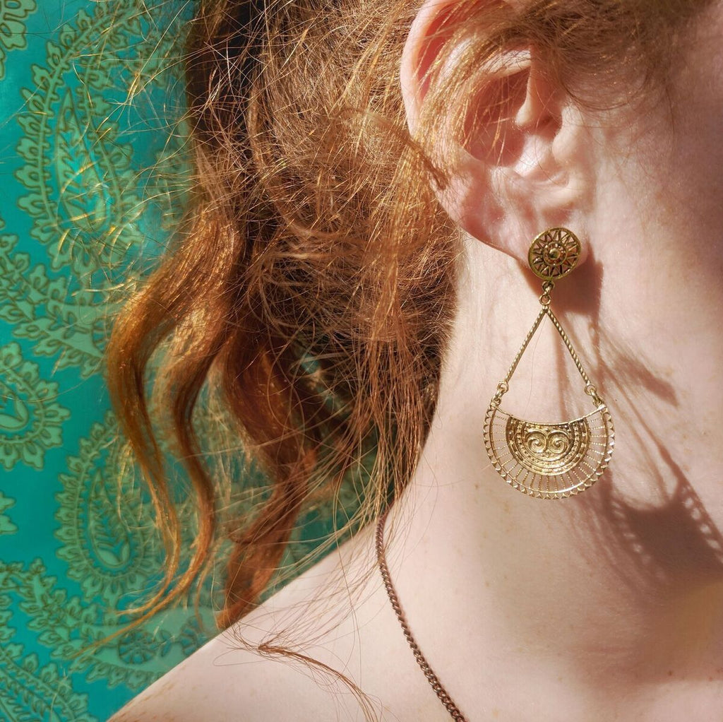 Fun Brass Teardrop Earrings