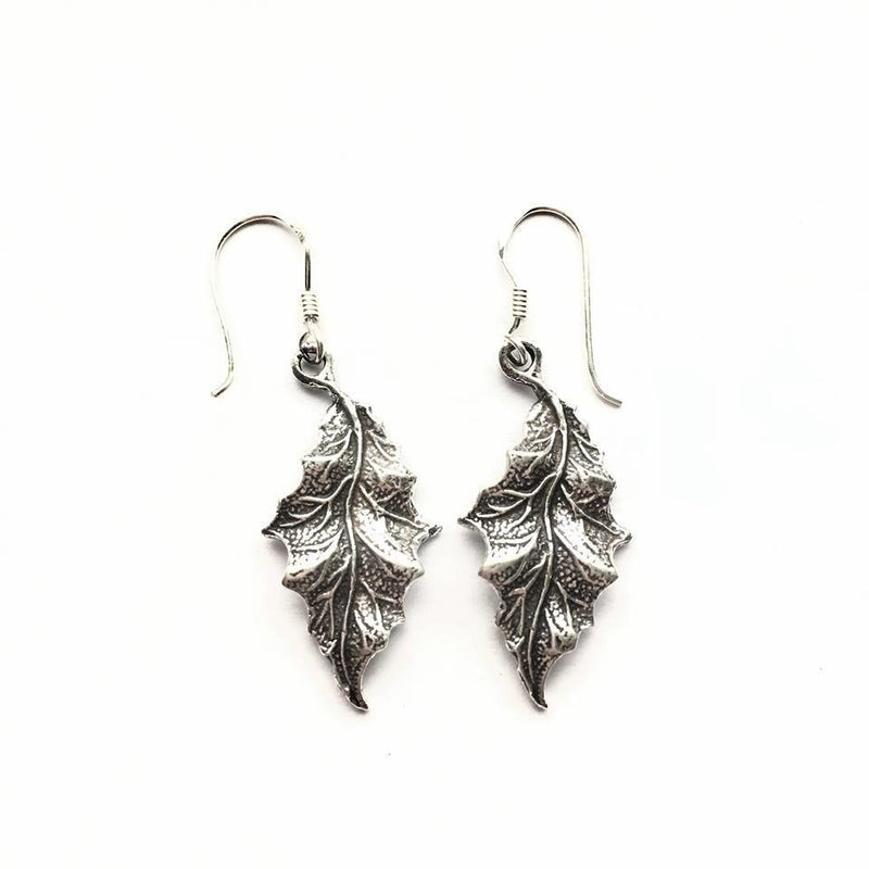 Sterling Silver Detailed Leaf Earrings