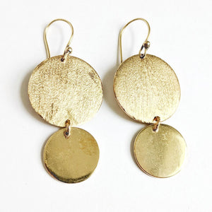 Brass Double Disc Drop Earrings