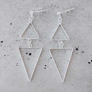 Sterling Silver Dual Triangle Drop Studs