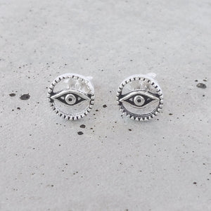 Sterling Silver Evil Eye Circle Studs