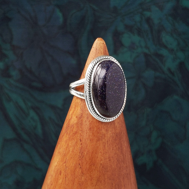 Sterling Silver Oval Blue Goldstone Stone Ring