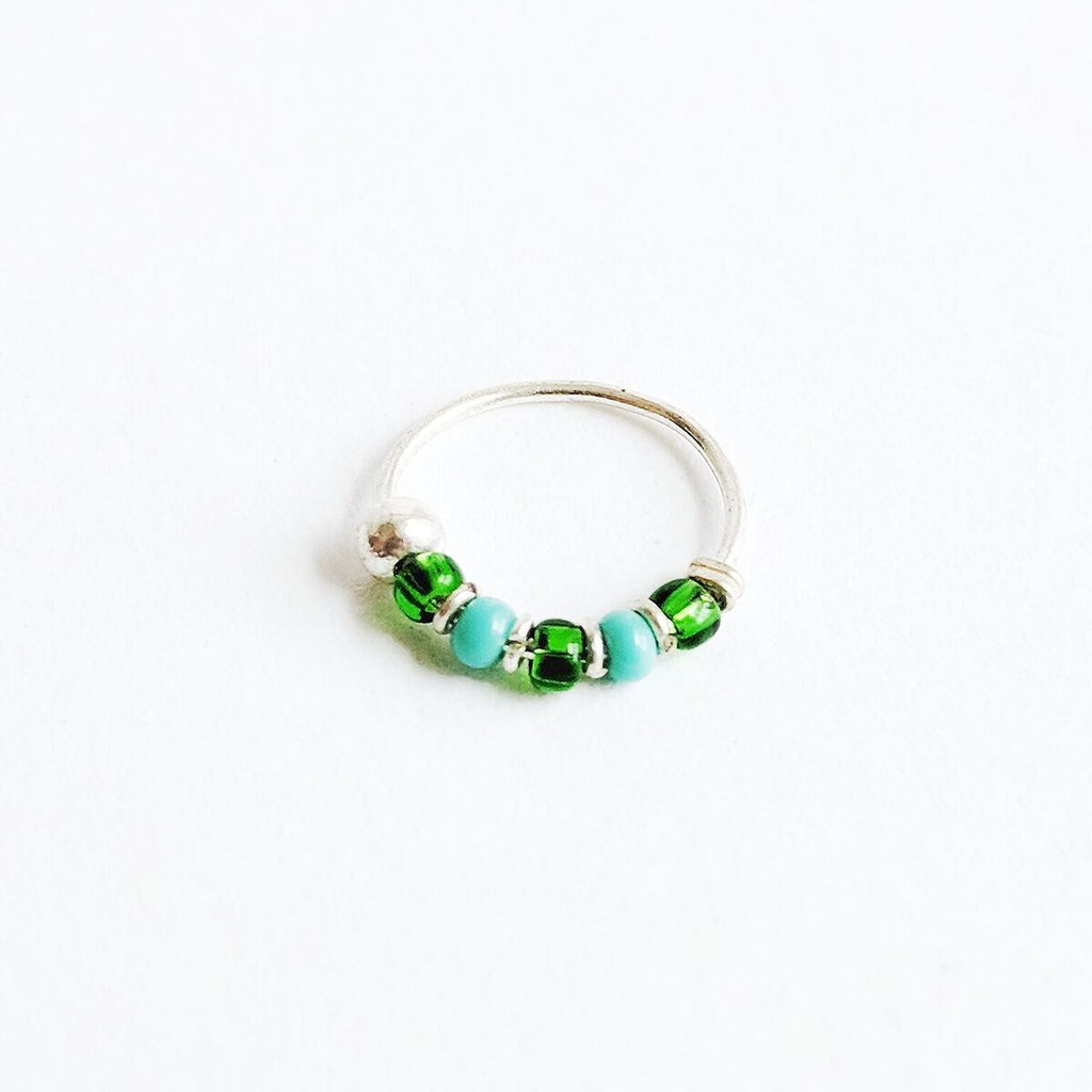Turquoise + Green Beaded Sterling Silver Nose Hoop