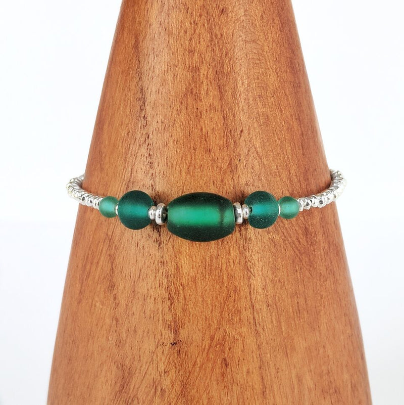 Green Silver Plated Beaded Bracelet