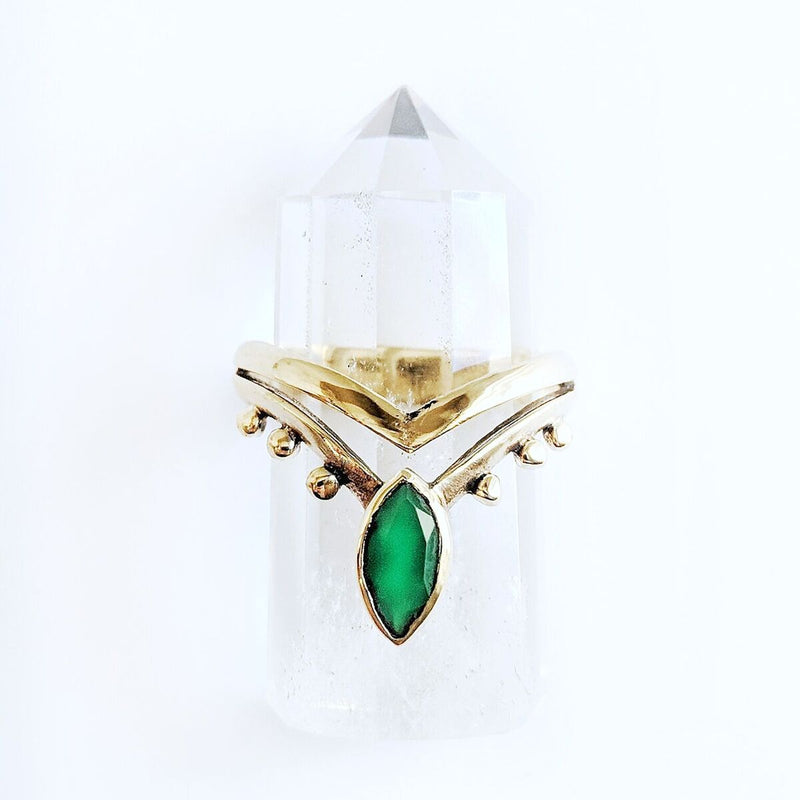 Detailed Green Onyx Brass Ring