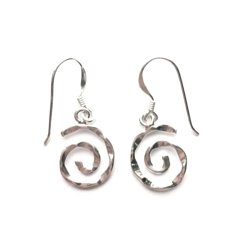 Sterling Silver Hammered Swirl Earrings