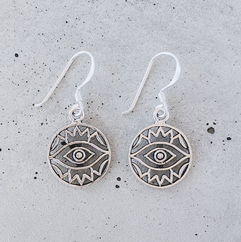 Detailed Sterling Silver Eye Earrings