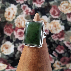 Sterling Silver Rectangle Jade Stone Ring