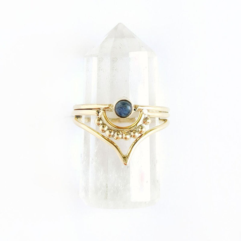 Detailed Labradorite Brass Ring w/Point