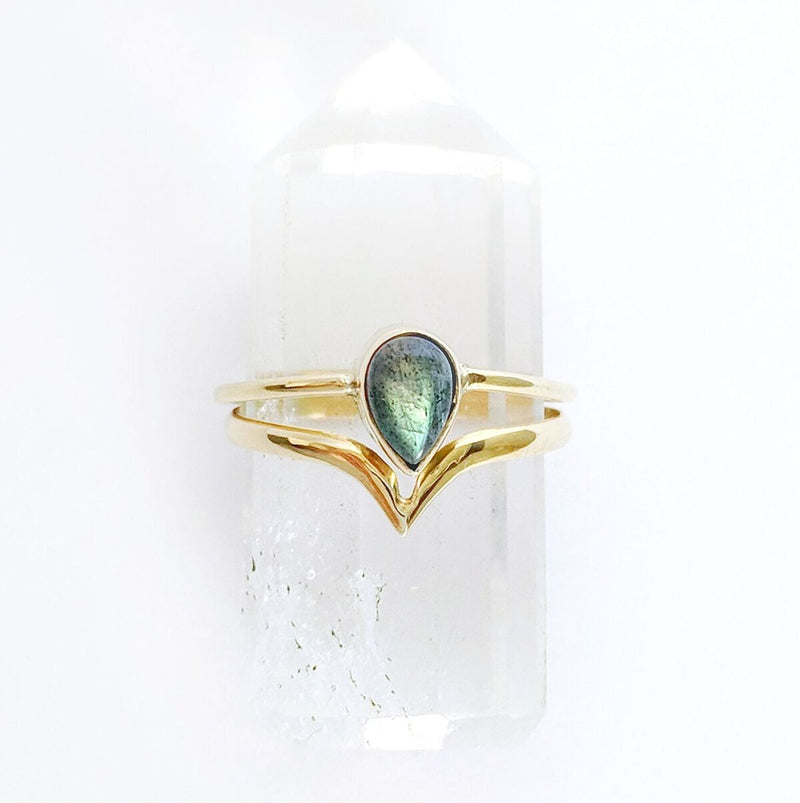 Labradorite Brass Ring w/Point