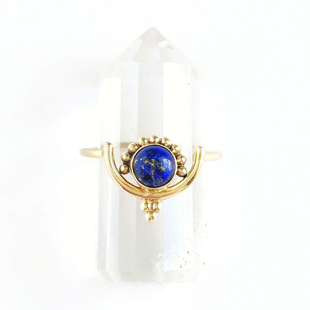 Detailed Lapis Lazuli Brass Ring