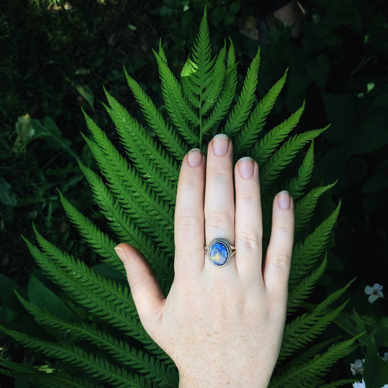 Sterling Silver Oval Lapis Lazuli Ring