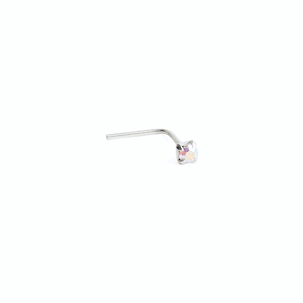 Small Sterling Silver L Back Nose Stud w/Iridescent Square Gem