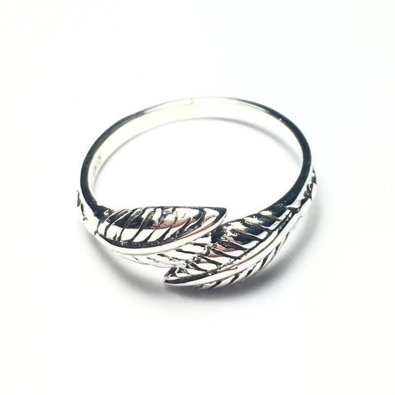 Sterling Silver Wrapped Double Leaf Ring