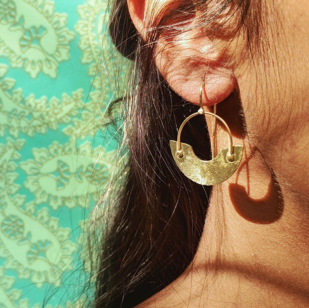 Brass Cut-out Hoop Earrings