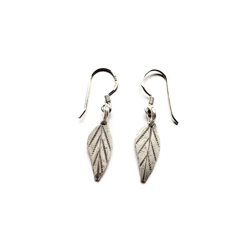 Small Sterling Silver Leaf Earrings