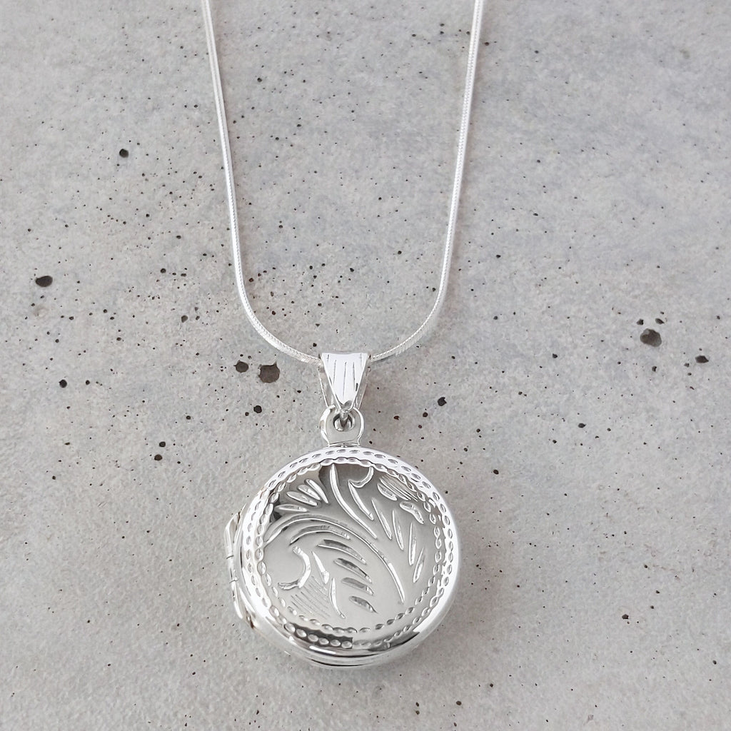 Etched Sterling Silver Circle Locket