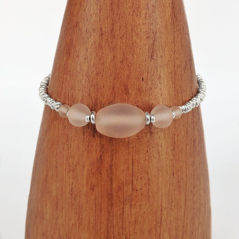 Peach Silver Plated Beaded Bracelet