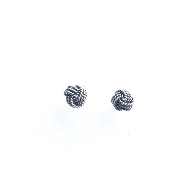 Sterling Silver Large Oxidized Knot Studs