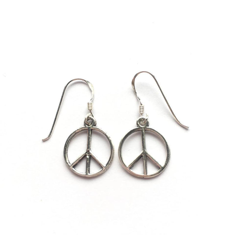 Sterling Silver Peace Sign Earrings