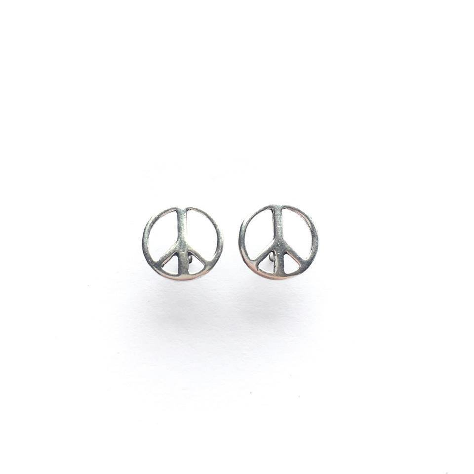 Sterling Silver Peace Sign Studs