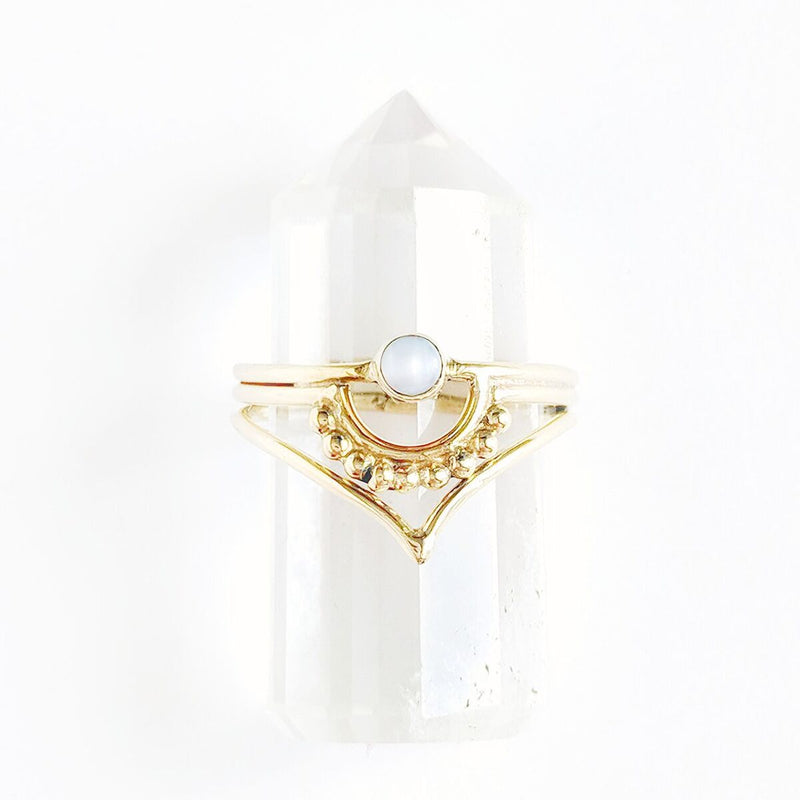 Detailed Pearl Brass Ring w/Point