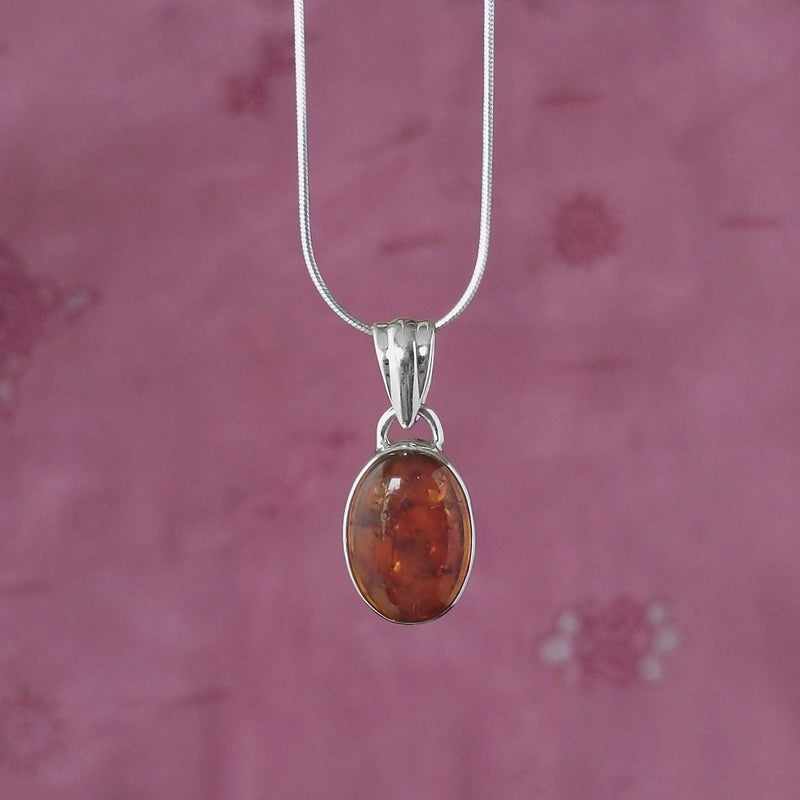 Sterling Silver Oval Amber Pendant