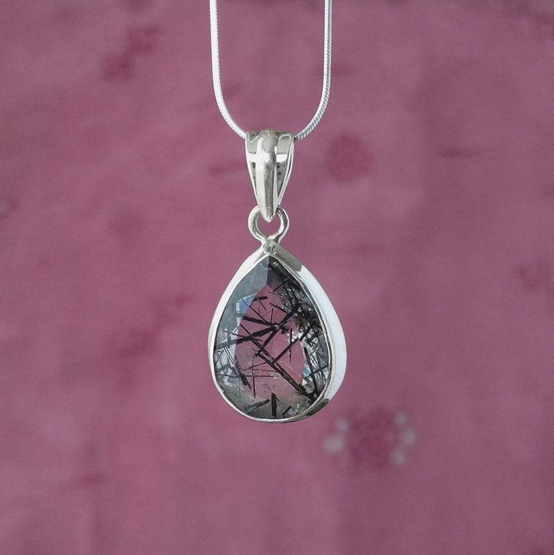 Sterling Silver Faceted Teardrop Black Rutilite Pendant