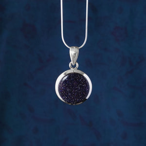 Sterling Silver Blue Goldstone Pendant