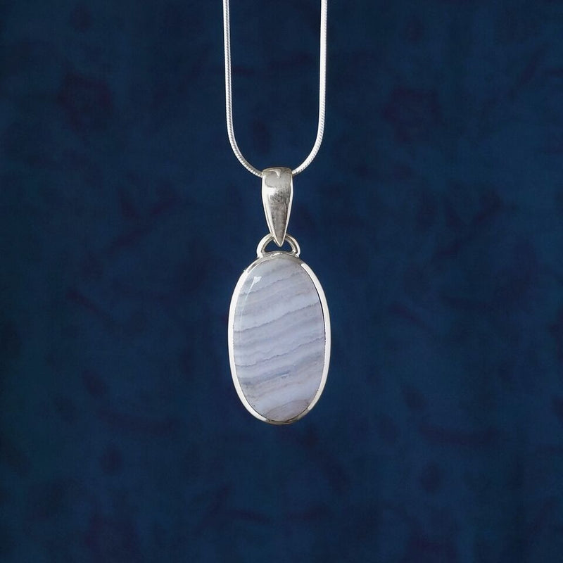 Sterling Silver Oval Blue Lace Agate Pendant