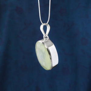 Faceted Sterling Silver Oval Prehnite Pendant