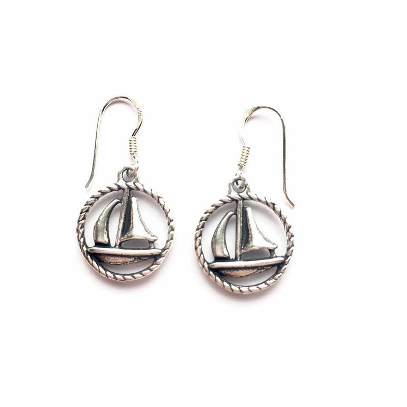 Sterling Silver Sailboat Earrings