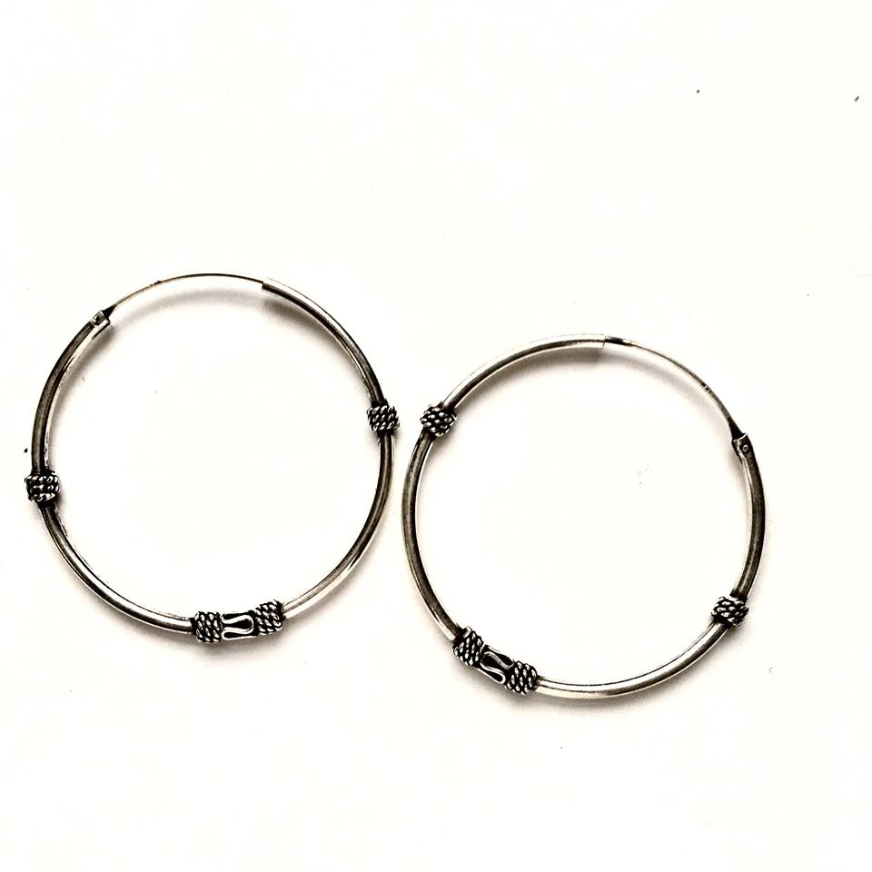 Sterling Silver Detailed 40mm Hoops