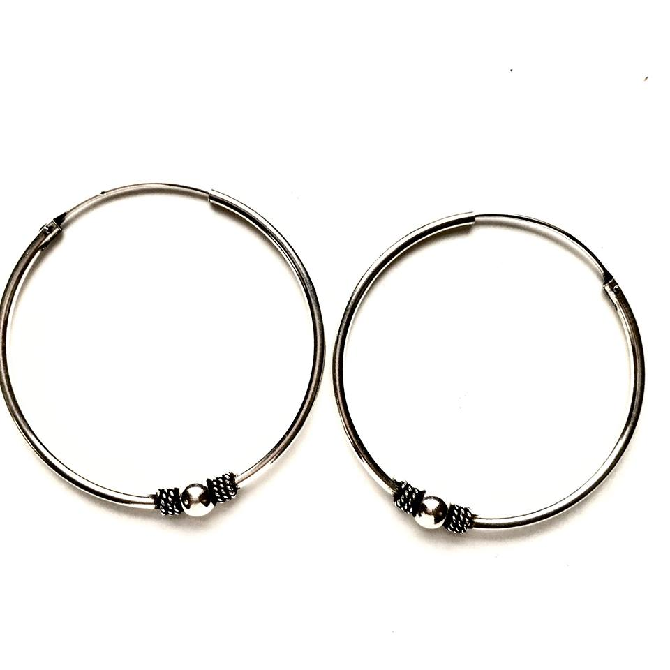 Sterling Silver Detailed 40mm Hoops + Ball