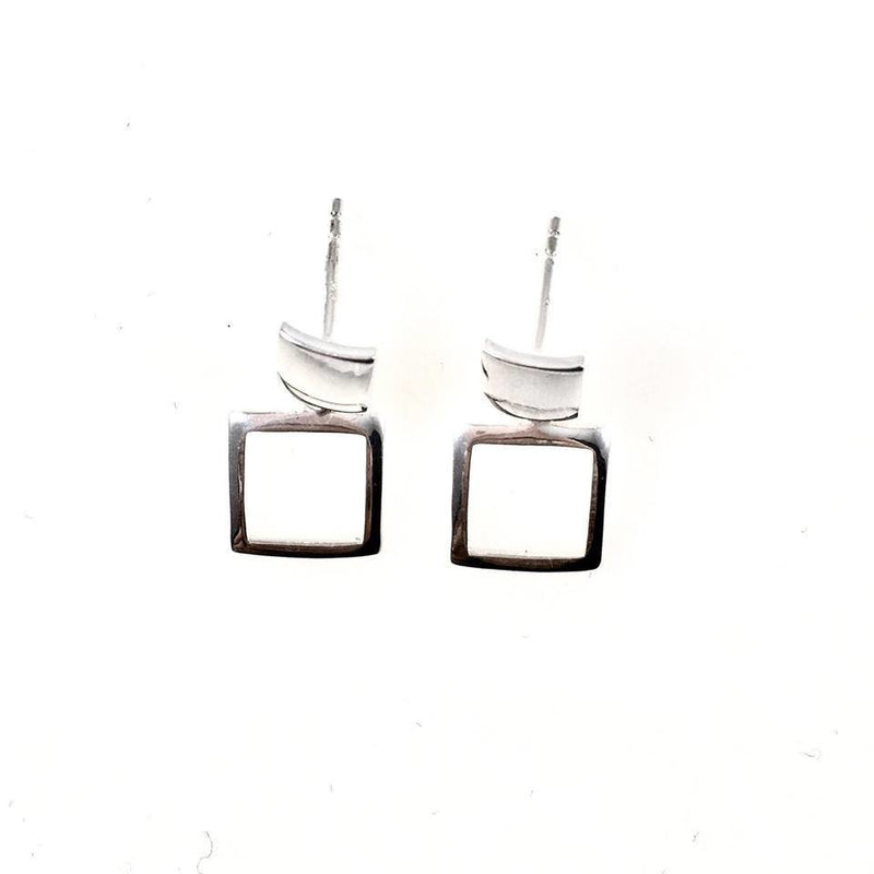 Sterling Silver Square Ear Jacket Earrings