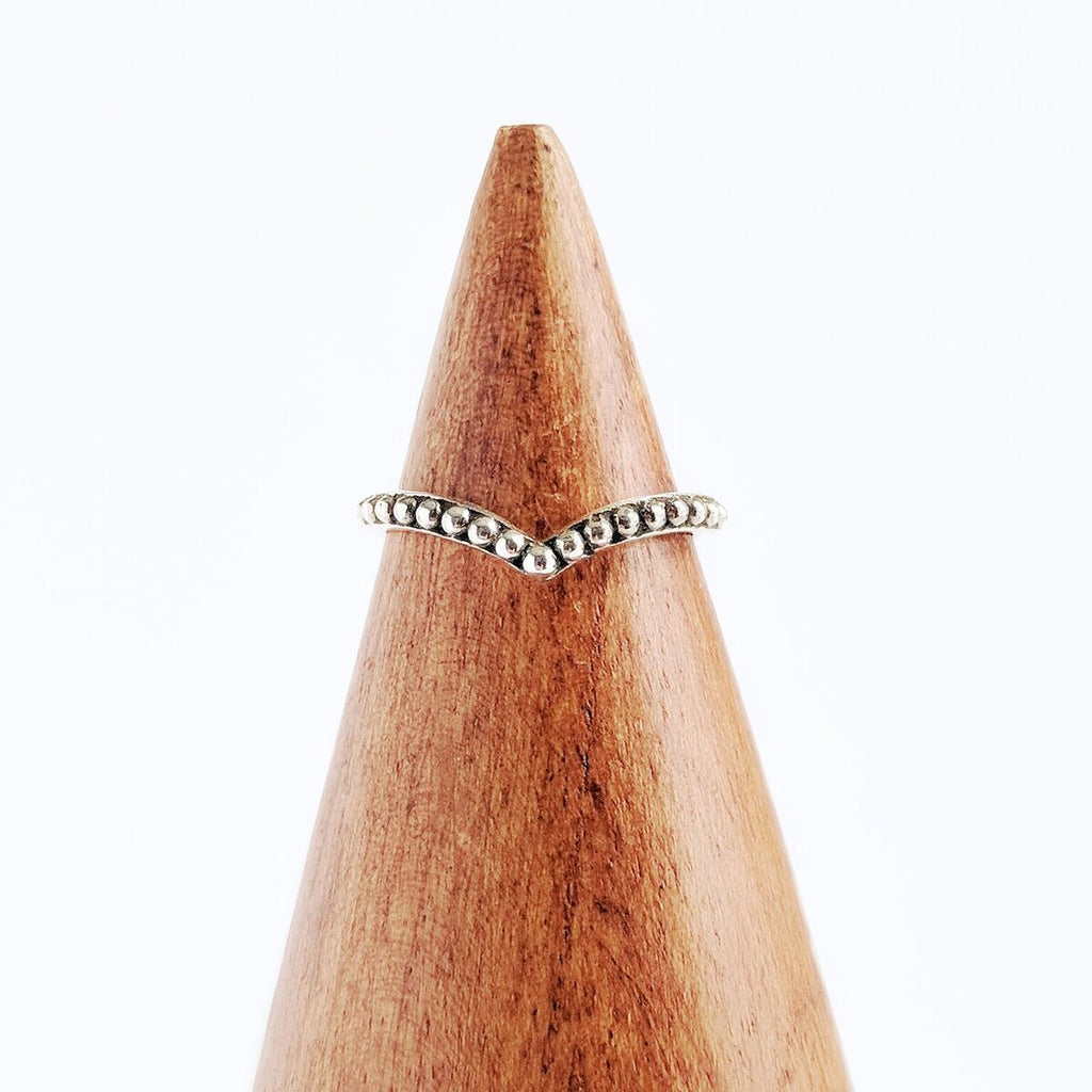 Sterling Silver Dotted Point Ring