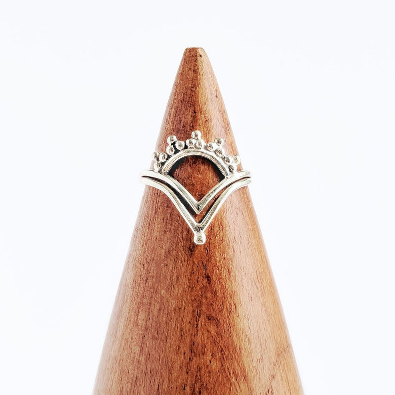 Sterling Silver Detailed Pointed Ring