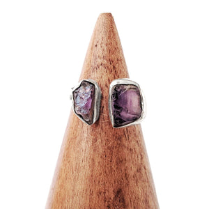Sterling Silver Separated Raw Amethyst Ring