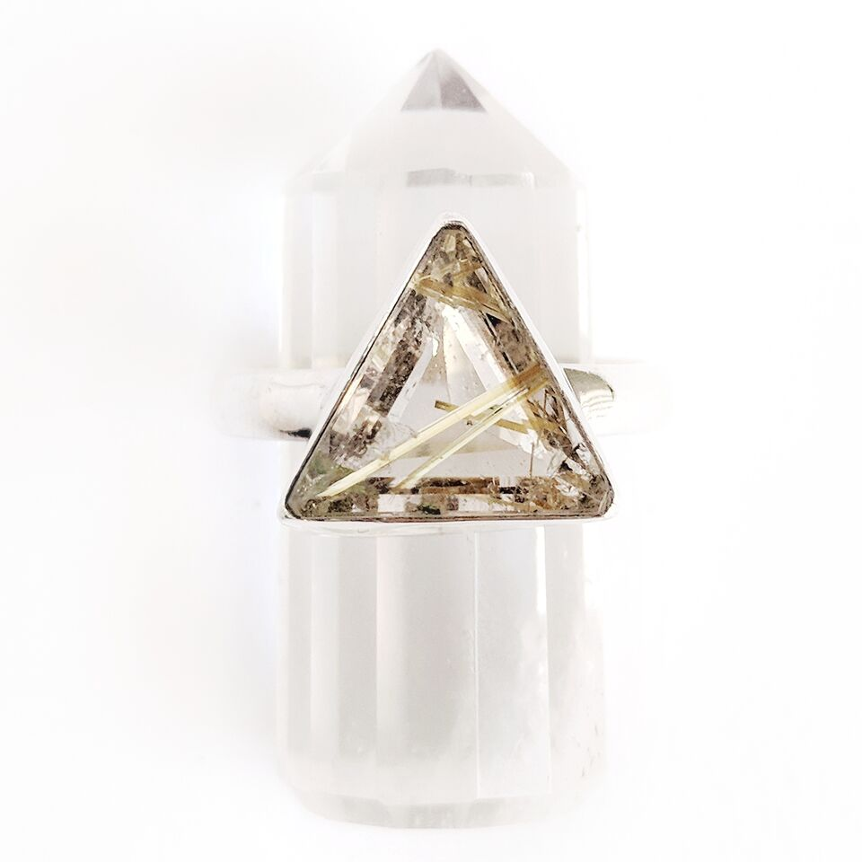 Sterling Silver Triangular Golden Rutilated Quartz Ring