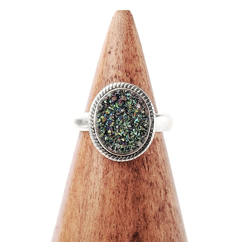 Sterling Silver Green Druzy Quartz Ring