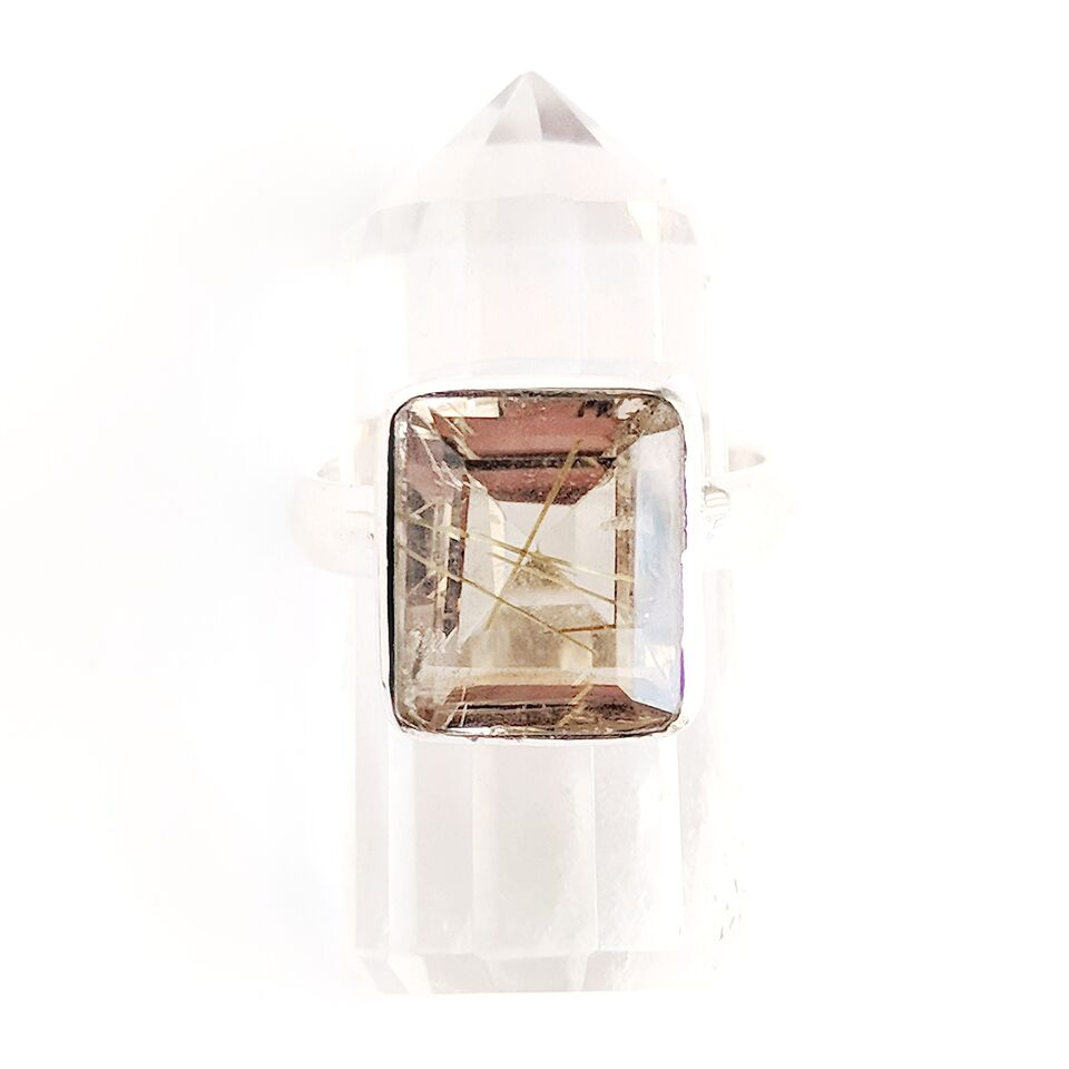 Sterling Silver Rectangular Golden Rutilated Quartz Ring