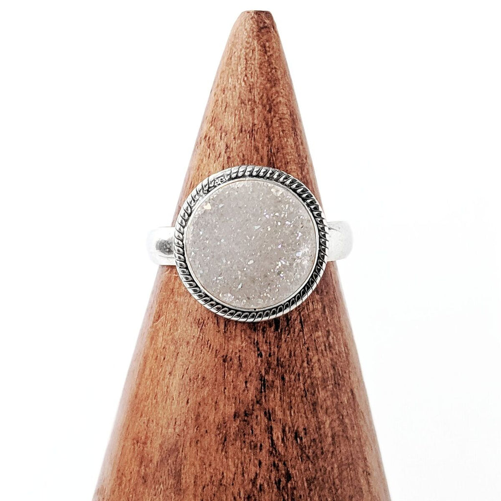 Sterling Silver White Druzy Quartz Ring