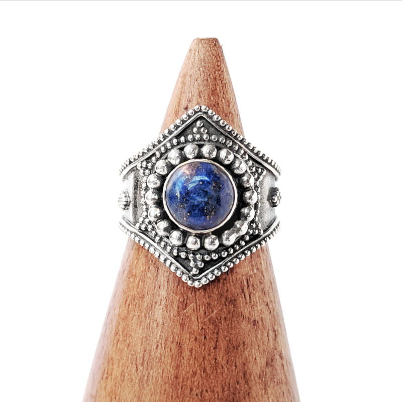 Sterling Silver Warrior Double Point Lapis Lazuli Ring
