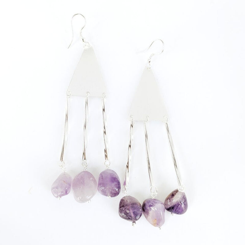 Silver Plated Brass Drop Earrings w/Amethyst